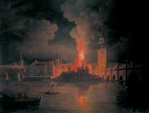 The Waterworks at London Bridge on Fire, 1779
