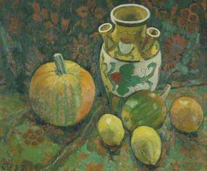 Still Life with a Jug, Pumpkin and Fruit