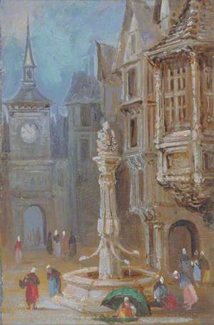 Market Place with Figures