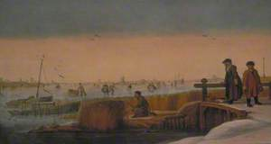 Winter Landscape with Figures on a Bridge, a Hunter and Skaters