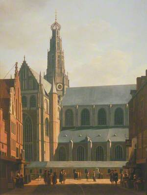 The Smedestraat with a View of the Grote Markt and St Bavo's Church, Haarlem, Holland