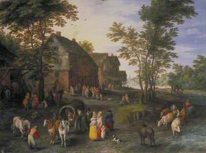 Village Landscape with Figures Preparing to Depart