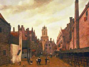 View of the Boterbrug with the Tower of the Stadhuis, Delft, Holland