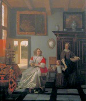 Interior with a Woman Knitting, a Serving Woman and a Child