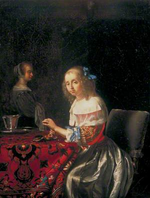 A Young Woman Stringing Pearls