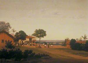 Brazilian Village with Buildings and Native Figures