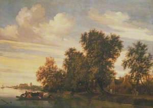 River Landscape with Ferry Boat