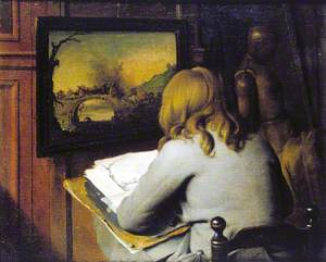 A Young Boy Copying a Painting