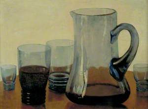 Glass Jug and Four Glasses