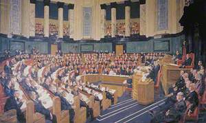 The First Meeting of the Greater London Council in the County Hall, 1964