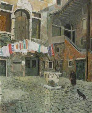 Courtyard with Cat Lady, Venice, Italy