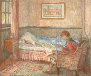 The Bedroom at Auppegard, France, Girl Reading
