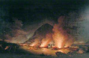 The Defence of Gibraltar on the Night of 13 September 1782, with the Spanish Gunboats Ablaze