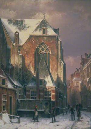 Winter Scene in Amsterdam, Holland