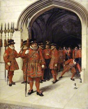 The Yeoman of the Guard Searching the Crypt of the Houses of Parliament, London