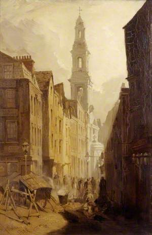 Drury Court with the Church of St Mary-le-Strand, London