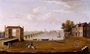Putney Bridge and Village from Fulham, London