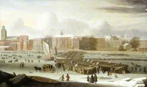 A Frost Fair on the Thames at Temple Stairs, London