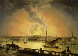 The Burning of Drury Lane Theatre from Westminster Bridge, London