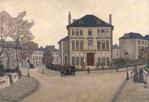 A Street Scene in Belsize Park, a House at Hampstead, London