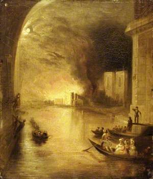 The Burning of the House of Commons, 16 October 1834, Seen from the River
