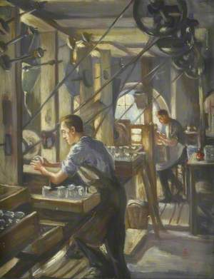 Whitefriars Glass Works, Cutting Shop, Using Belt Driven Lathes