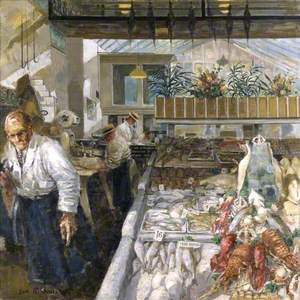 Interior of 'Burkett's Fish Shop', 114 Brompton Road, London