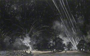 Fireworks in Hyde Park, London, on Peace Night, 26 July 1919