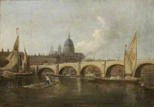 Blackfriars Bridge and St Paul's from the River, London