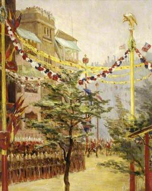 Queen Victoria's Diamond Jubilee, a View of the Processional Route from Borough Road, London