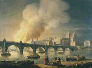 Westminster Bridge and the Burning of the Houses of Parliament from Lambeth, London