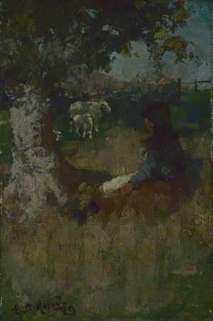 Landscape with a Girl and a Sheep
