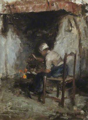 Woman at an Open Hearth