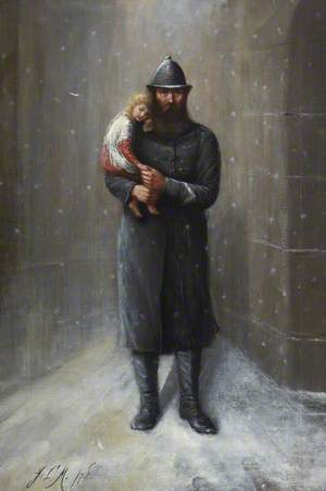 Glasgow Policeman with an Abandoned Child in the Snow