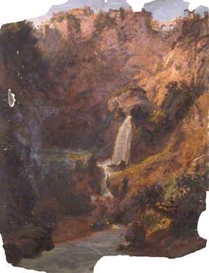 Waterfall in a Rocky Landscape