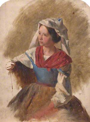 Woman in a Red and Blue Dress