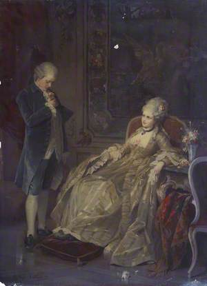 A Man with a Rose and a Woman in an Interior