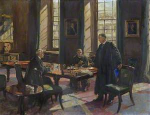 Sir Henry Thirkill (Master), with William John Harrison (Bursar) and William Telfer (Dean) (Conversation Piece)