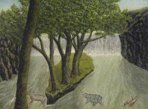 Animals Crossing a Flooded River with a Distant Waterfall