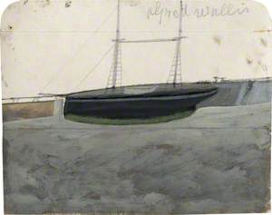 Two-Master with Green Hull-Line alongside Quay