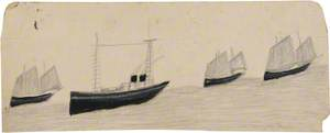 Two-Funnel Steamboat amongst Three Sailing Boats