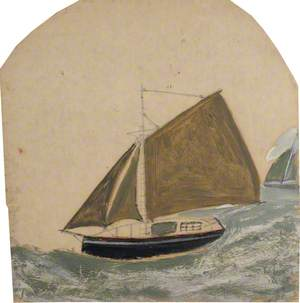 Two Ships with Brown-Green Sails in Rising Sea