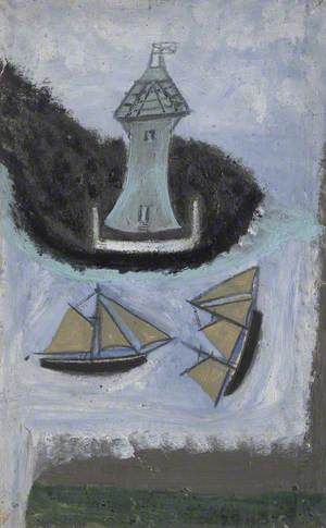 Lighthouse and Two Sailing Ships