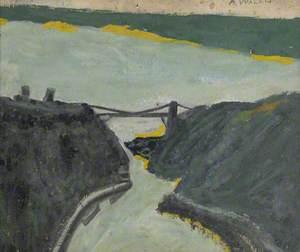 Ravine with Estuary (Bristol Channel and Suspension Bridge?)