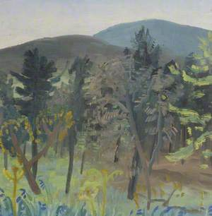 Trees and Bluebells in a Hilly Landscape*