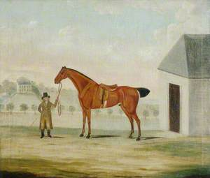Bay Hunter with a Groom in a Landscape