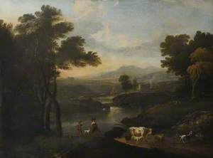 Italianate River Landscape, with Countryfolk at a Crossing with Livestock