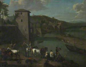 A Riverside Town with High Embankment Walls, Figures Bathing and Traders with their Horses on the Mudflats