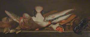 Still Life of Lobsters, Mackerel and Other Fish on a Ledge