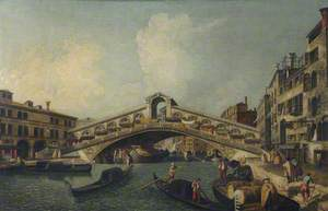 A Busy Canal Scene by the Rialto Bridge